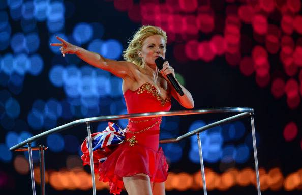 Spice Girls' Geri Halliwell performs during the closing ceremony of the 2012 London Olympic Games at the Olympic stadium in London on August 12, 2012.    AFP PHOTO / OLIVIER MORIN        (Photo credit should read OLIVIER MORIN/AFP/GettyImages)