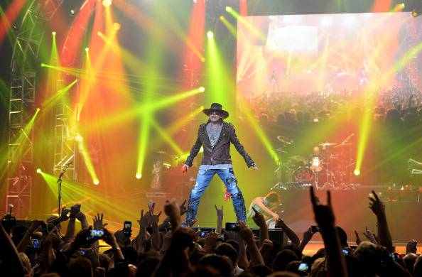 "LAS VEGAS, NV - MAY 21:  Singer Axl Rose of Guns N' Roses performs at The Joint inside the Hard Rock Hotel & Casino during the opening night of the band's second residency, ""Guns N' Roses - An Evening of Destruction. No Trickery!"" on May 21, 2014 in Las Vegas, Nevada.  (Photo by Ethan Miller/Getty Images)"
