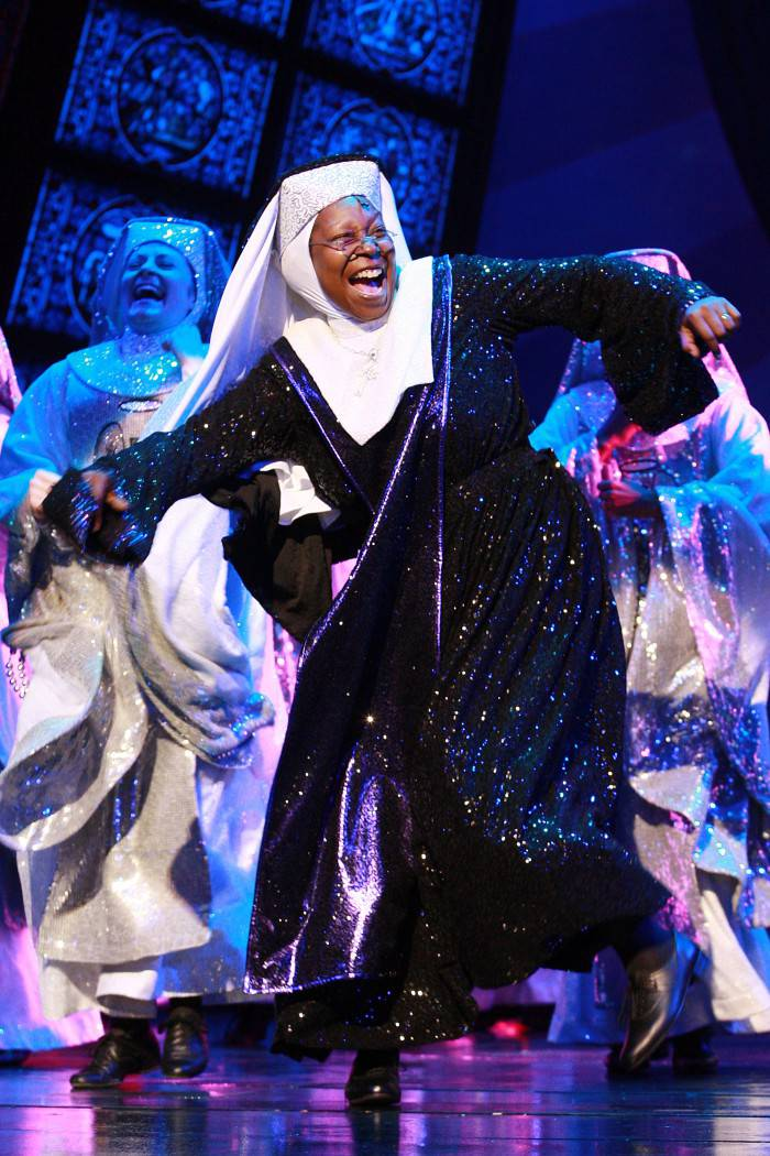 LONDON, UNITED KINGDOM - AUGUST 10: Whoopi Goldberg on Stage for The Sister Act: The Musical Cast Change  on August 10, 2010 in London, England. (Photo by Neil Mockford/Getty Images)