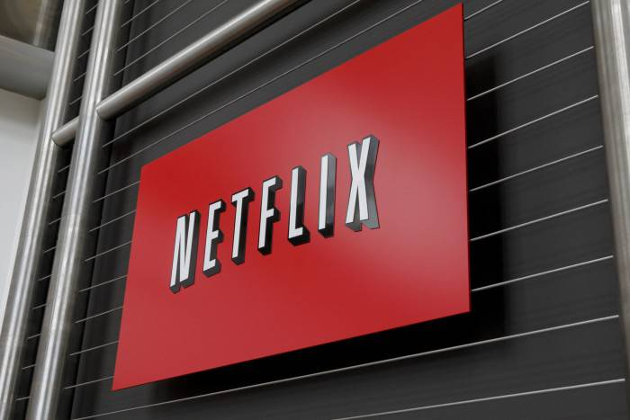 The Netflix company logo is seen at Netflix headquarters in Los Gatos, CA on Wednesday, April 13, 2011.   AFP PHOTO / Ryan Anson (Photo credit should read Ryan Anson/AFP/Getty Images)