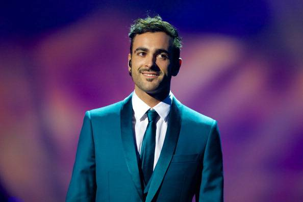 MALMO, SWEDEN - MAY 17: Marco Mengoni of Italy performs during a dress rehearsal ahead of the finals of the Eurovision Song Contest 2013 at Malmo Arena on May 17, 2013 in Malmo, Sweden. (Photo by Ragnar Singsaas/Getty Images)