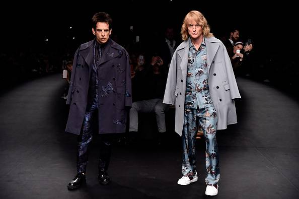 PARIS, FRANCE - MARCH 10:  Derek Zoolander and Hansel walk the runway at the Valentino Fashion Show during Paris Fashion Week at Espace Ephemere Tuileries on March 10, 2015 in Paris, France. ZOOLANDER 2 will open in theaters in the U.S. on February 12, 2016.  (Photo by Pascal Le Segretain/Getty Images For Paramount Pictures)