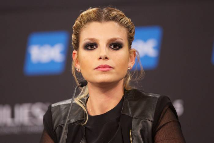 COPENHAGEN, DENMARK - MAY 09: Emma Marrone of Italy attends a press conference ahead of the Grand Final of the Eurovision Song Contest 2014 on May 9, 2014 in Copenhagen, Denmark. (Photo by Ragnar Singsaas/Getty Images)