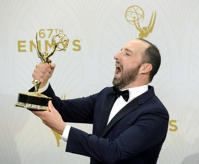 LOS ANGELES, CA - SEPTEMBER 20: Actor Tony Hale, winner of Outstanding Supporting Actor in a Comedy Series for 'Veep', poses in the press room at the 67th Annual Primetime Emmy Awards at Microsoft Theater on September 20, 2015 in Los Angeles, California.(Photo by Kevork Djansezian/Getty Images)
