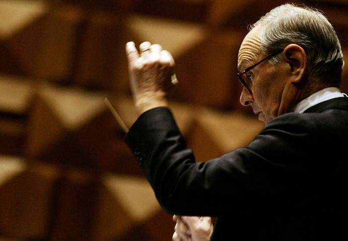 "Italian conductor Ennio Morricone directs the orchestra for the piece ""life without drugs"" at the Auditorium of Conciliazione in Rome, 21 November 2007. The concert is organized by the Colombian embassy to Italy in a bid to raise public awareness on the problems linked to the use of the drug cocaine. AFP PHOTO /  AFP PHOTO / TIZIANA FABI        (Photo credit should read TIZIANA FABI/AFP/Getty Images)"