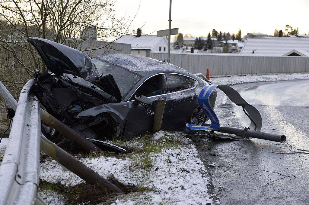 photo showing the remains of an Audi car belonging to Norwegian nordic skier Petter Northug, after he crashed in the Byasen area of Trondheim in Central Norway in the early hours of the morning of May 4, 2014. Northug admitted to have drunk driving.  AFP PHOTO / NTB SCANPIX / HENRIK SUNDGARD +++ NORWAY OUT        (Photo credit should read HENRIK SUNDGARD/AFP/Getty Images)