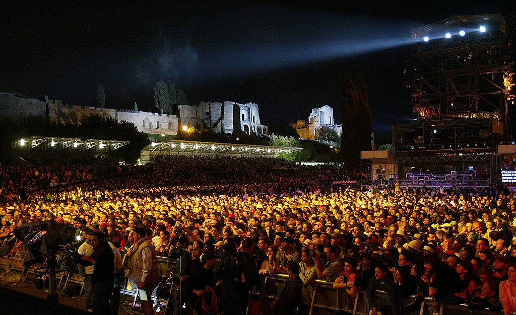 "ROME - MAY 16:  General view of the ancient Palatine Palace overlooking the ""We are the Future"" all-star humanitarian concert May 16, 2004 at Circus Maximus in Rome, Italy. The show will be is being broadcast globally on MTV and will raise money to open child centers in the most war torn regions of the world. (Photo by Frank Micelotta/Getty Images)"