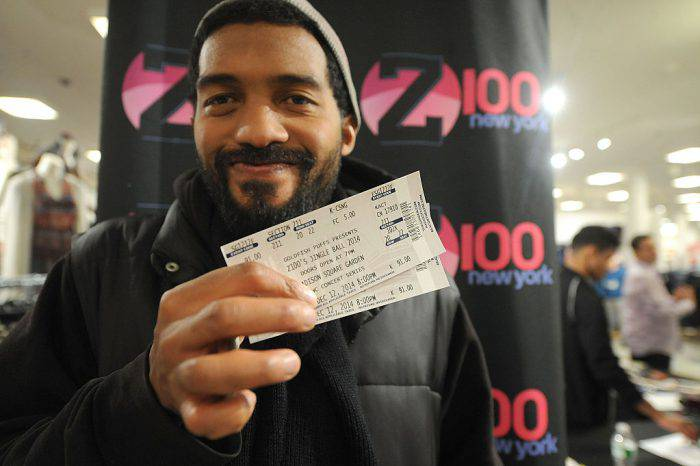 NEW YORK, NY - NOVEMBER 27:  Z100 Jingle Ball tickets are seen at Macy's Herald Square New York Jingle Ball Ticket Giveaway at Macy's Herald Square on November 27, 2014 in New York City.  (Photo by Brad Barket/Getty Images for iHeartRadio)