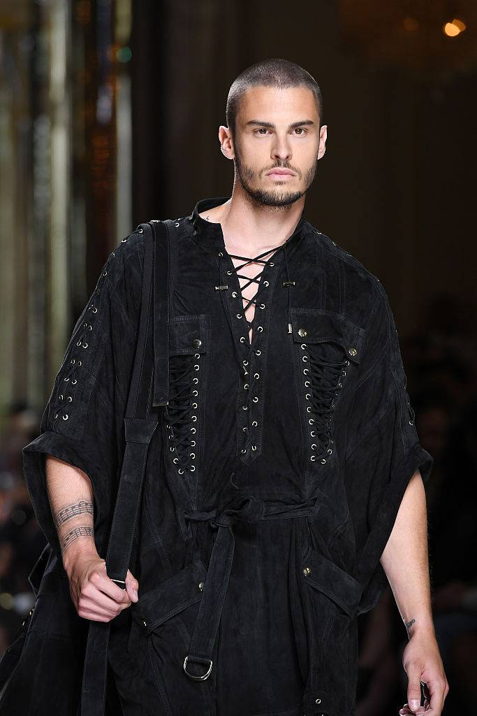 PARIS, FRANCE - JUNE 25:  Baptiste Giabiconi  walks the runway during the Balmain Menswear Spring/Summer 2017 show as part of Paris Fashion Week on June 25, 2016 in Paris, France.  (Photo by Pascal Le Segretain/Getty Images)