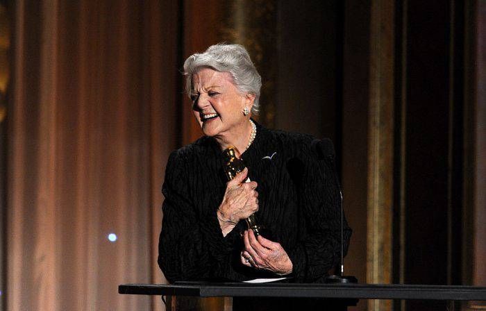 HOLLYWOOD, CA - NOVEMBER 16:  Honoree Angela Lansbury accepts honorary award onstage during the Academy of Motion Picture Arts and Sciences' Governors Awards at The Ray Dolby Ballroom at Hollywood & Highland Center on November 16, 2013 in Hollywood, California.  (Photo by Kevin Winter/Getty Images)